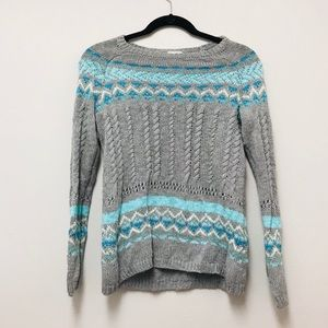 Justice blue/gray pullover long sleeve sweater top